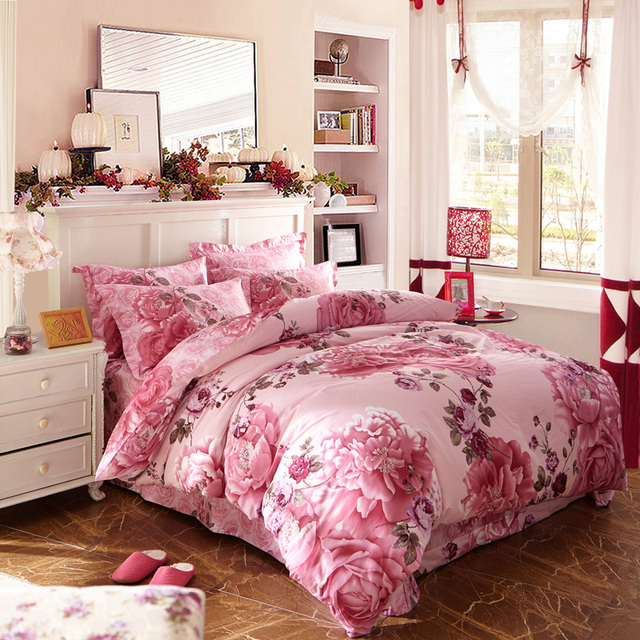 3D Pink Flowered Bedding Set Queen Size U0026 King Size Duvet Cover Pillowcase  Floral Printed Cotton