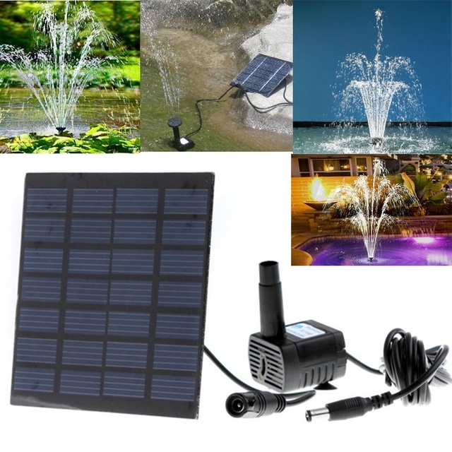 Solar Powered Water Pump Panel Pond Fountain Submersible Pool Aquarium Garden Plants Landscape Watering Kit
