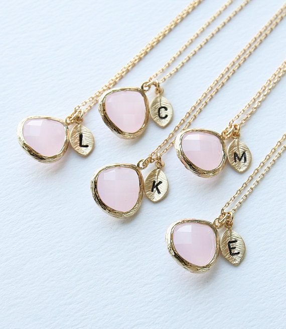 5 Bridesmaid Gifts, Pink Stone Necklace, Initial Necklace, Bridesmaids gift, Maid of Honor Gift,.jpg