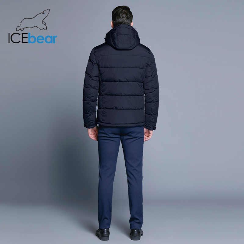 ICEbear 2019 メンズ冬固体パーカー暖かいジャケットシンプルな裾実用的な防水ジッパーポケット高品質パーカー B17MD940D