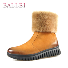 BALLEI Luxury Woman Ankle Boots High Quality Genuine Leather Soft Round Toe Low Heel Shoes Warm Fur Zipper Lady B4