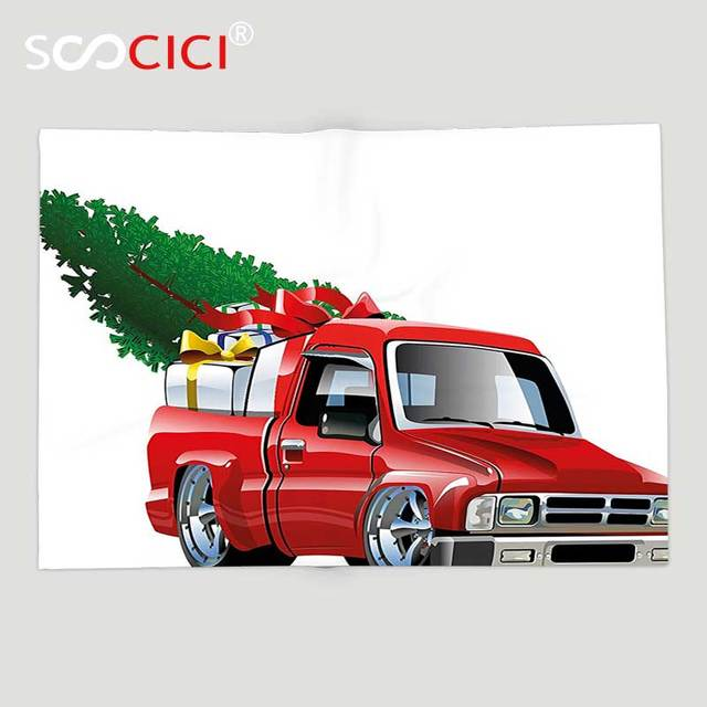 Home Accents Red Truck Plush Blanket