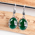 925 Silver yellow Agate Earring Women Green Anchor MARCASITE S925 Thai Silver boucle d'oreille Drop Earrings