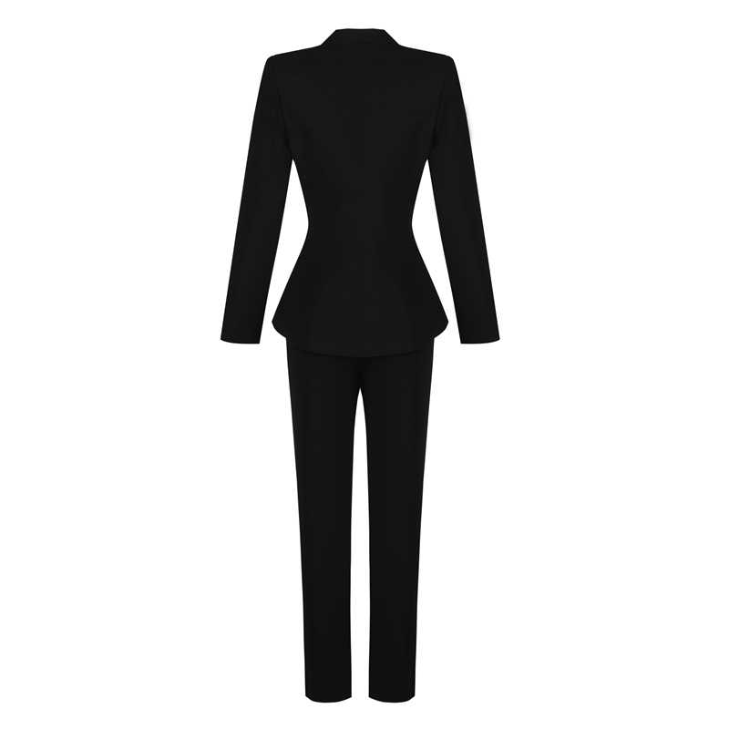 Beateen Women's Black Deep V Gold Buttons Blazer Jacket Pantsuits Long Sleeve Formal For Special Occasion Pant Suits Sets Women