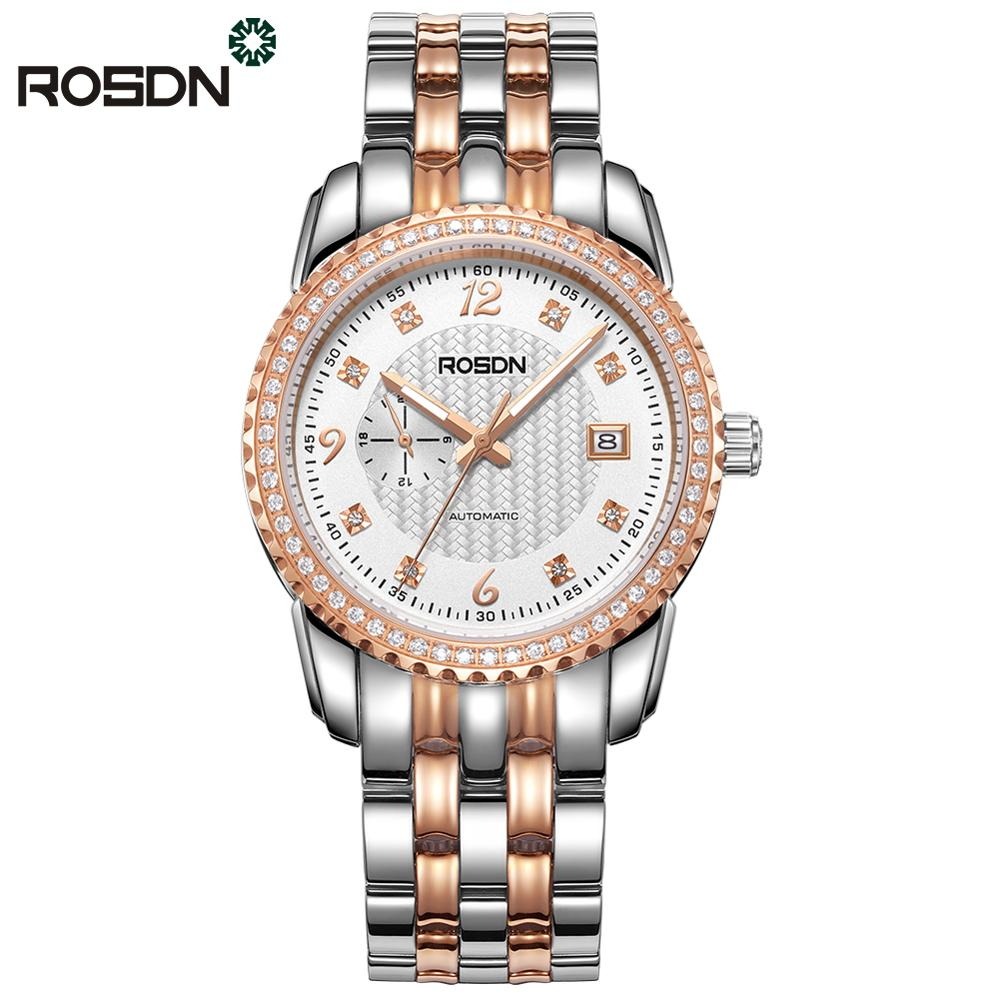 Original ROSDN Men Mechanical Watches Sapphire Crystal Luxury Brand Full Steel Automatic wrist watch Men Gold Silver Available