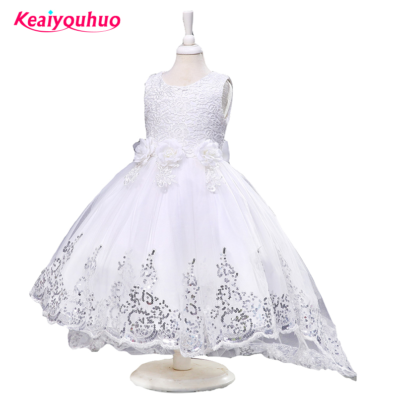 Подробнее о Kids Girls Party Dress long tail Flower Formal Wedding Dresses Girls Summer Princess Ball Gown Vestido kids clothes for 2-10 yrs flower girl dress for wedding party new style halter princess dresses children kids formal clothes girls long trailing gown