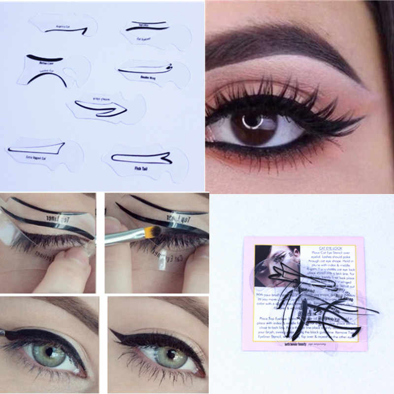7 style in 1 set Quick Cat Eyeliner Smokey Eyeshadow Drawing Guide Reusable Stencil for Classic Eye Liner Template makeup set