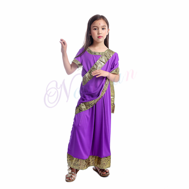Indian Saree Party India Sari Dress Bollywood Girls Traditional Indian Clothes For Kids Children 2