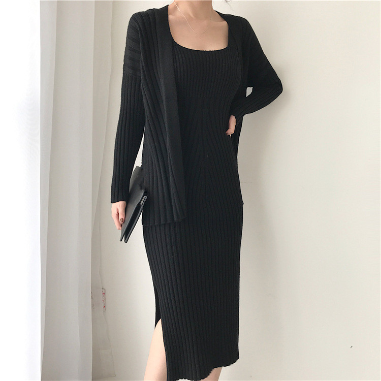 f1181444722 New Winter Women Cardigan Straps Dress Casual Two Piece Suit Elegant Long  Sleeve Knitted Sweater Dress Sets-in Women s Sets from Women s Clothing    ...