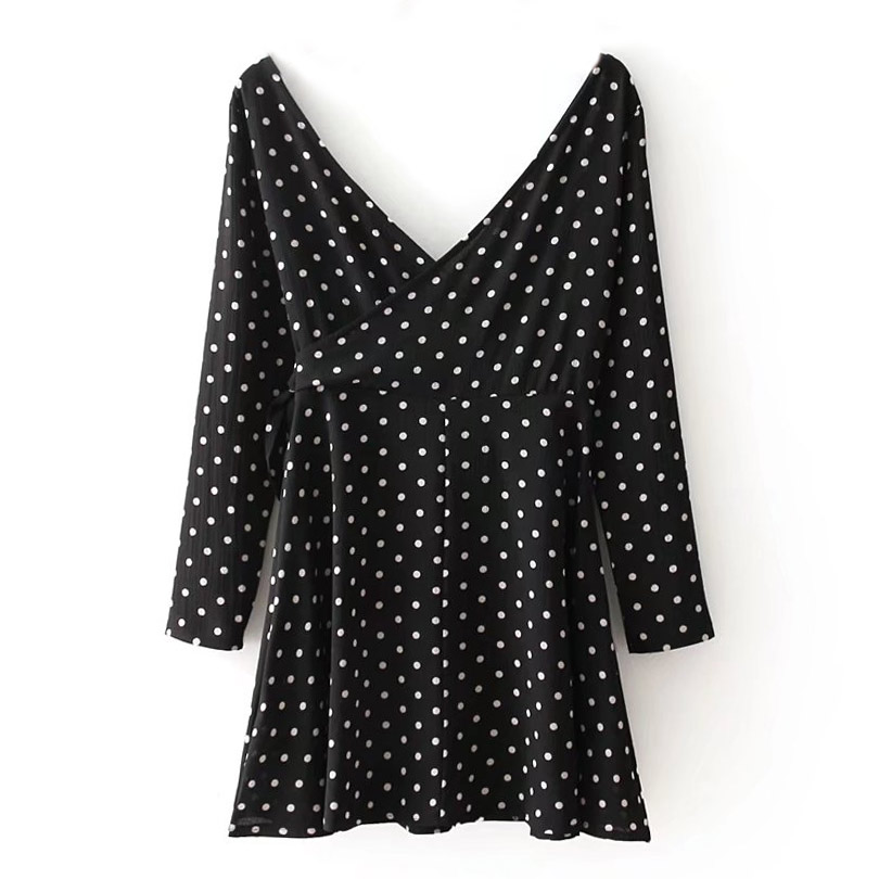 e3e74915070 2019 Polka Dot Wrap Dress Women Black V Neck Long Sleeve Mini Women ...