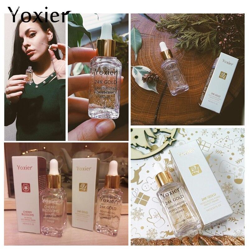 Купить с кэшбэком Face Serum 24K Gold Essence Shrink Pores Hyaluronic Acid makeup primer Anti Aging Plant Skin Care Whitening Anti Wrinkle Cream