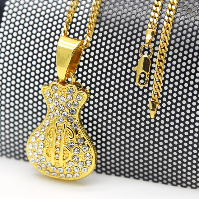 Dollar Sign Necklace Crystal Money Bag Pendants Iced Out Gold Star