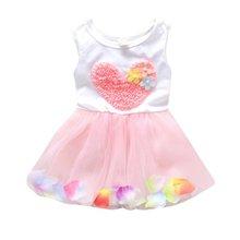Summer Girls Heart One Piece Dress Flower Princess Tutu Cotton Sleeveless Kids Dress birthday Gift цена