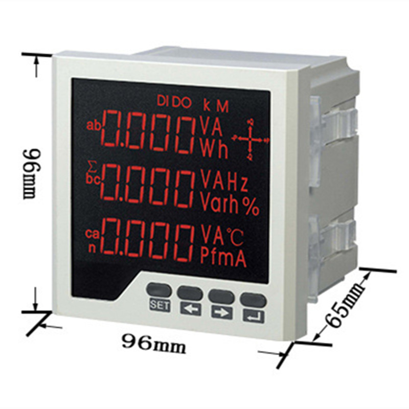 Embedded Multi-purpose Power Meter LED Digital 3 Phase voltmeter ammeter AC Voltage Current Power Factor Frequency Measurement me 3h61 72 72mm led display 3 phase digital power factor meter support switch input and transmitting output