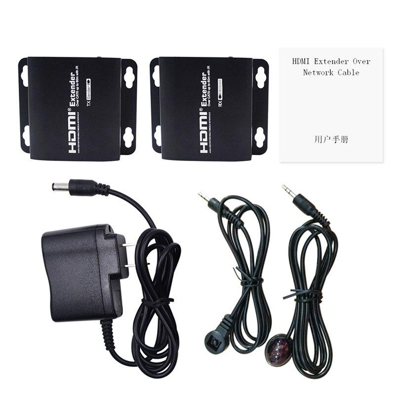 Adaptateur d'extension HD 3D 1080 P 60 M IR HDMI sur un seul câble LAN RJ45 CAT5e CAT6 7 câbles électriques connecteurs convertisseurs