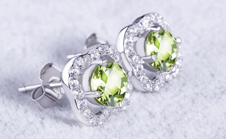 Olive Rhinestone Stud Earrings Authentic 925 sterling silver Jewelry European Style Fashion Earrings For Women pair of characteristic punk style silver colored earrings for women