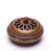 PINNY Cloisonne Ceramic Incense Burner Painted Coil Censer Sandalwood Home Decoration Zen Stick Holder