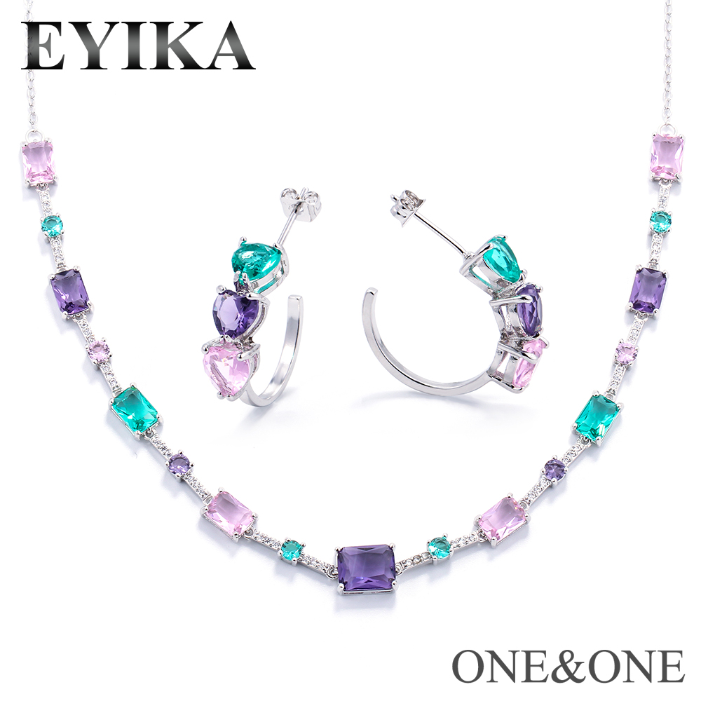 EYIKA Jewelry-Set Necklace Stud-Earrings Fashion Heart And Newest Women Glass Square