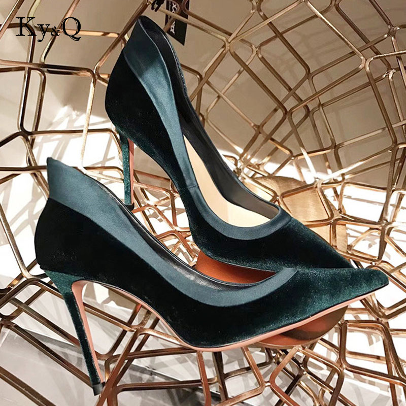 NEW Brands Designer Women Shoes High Heel Velvet Pointed Toe D'Orsay Two-Piece Heel Stiletto Party Shoes Women Pumps 9cm цены