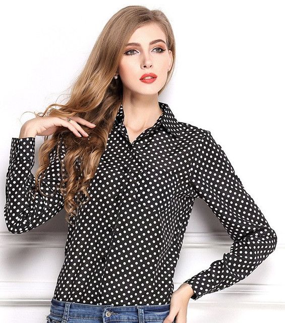 600c142fd Top Sale Women Turn-down Collar Polka Dots Blouses Shirts Ladies Long  Sleeve Vintage Design Girls Summer Casual Tops Clothing