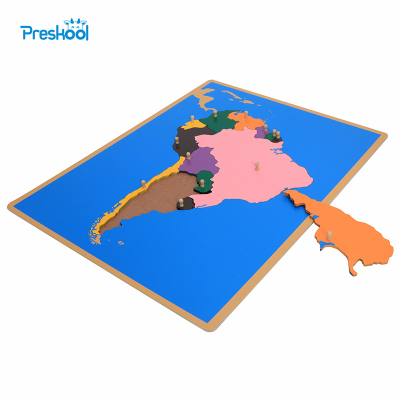 Baby Toy Montessori Puzzle South America Map Learning & Education Early Childhood Education Kids Toys Brinquedos Juguetes rome arch bridge puzzle education science mechanics diy toy for kid montessori learning education building blocks for children