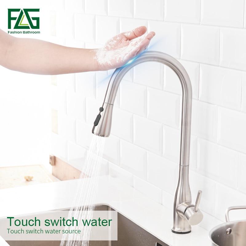 FLG Smart Touch Küche Armaturen Edelstahl Touch Induktive Sensor Wasserhahn Dual Outlet Wasser Modi Waschbecken Mischbatterie CP1025-33N