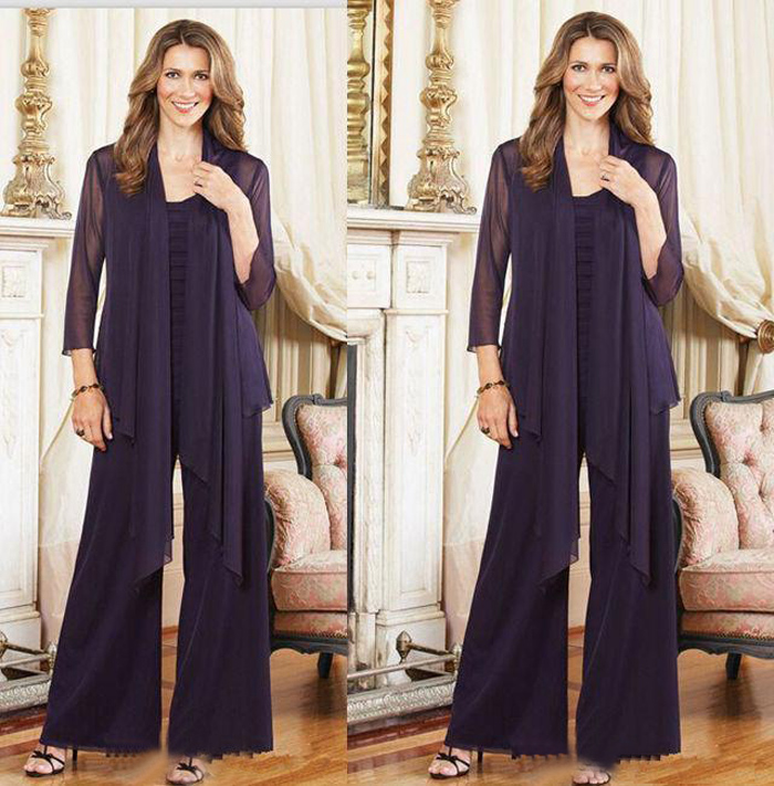 Custom Made 2016 New Style Spring Dark Purple Mother of the Bride Full Pant Suits With Chiffon Jacket Plus Size