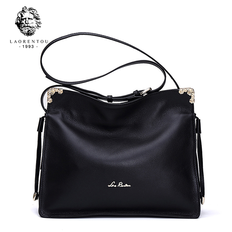 Laorentou Genuine Cow Leather Luxury Women Bags Designer Soft Real Leather Shoulder Bag For Women Messenger Bag