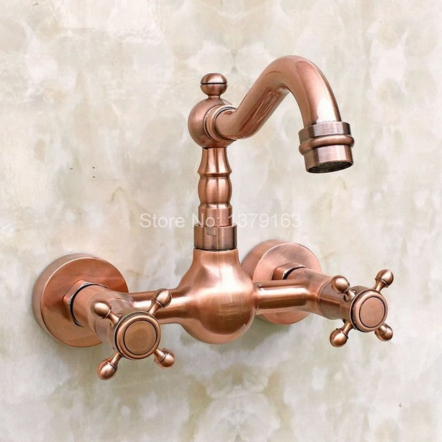 antique copper wall mounted kitchen sink faucet mixer basin tap