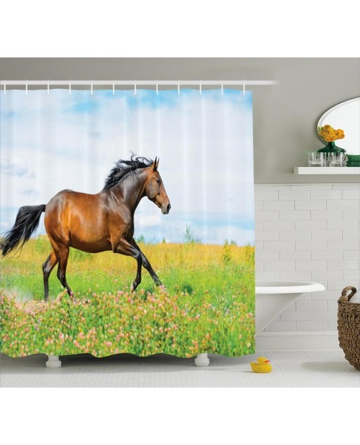 Equestrian Shower Curtain Horse Rural Flowers Print For BathroomWaterproof And Fabric Washable Set With Hooks