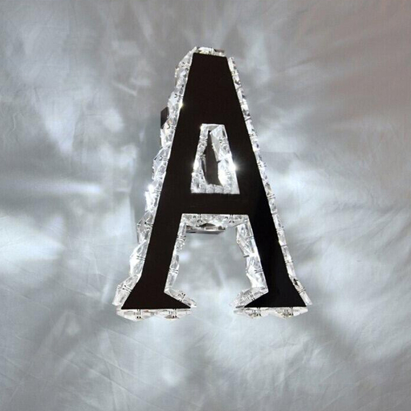 Modern Creative Alphabet Metal Letter LED Crystal Sign Light Indoor Home Decor Bedroom Aisle Balcony Staircase Wall Lamp WL261
