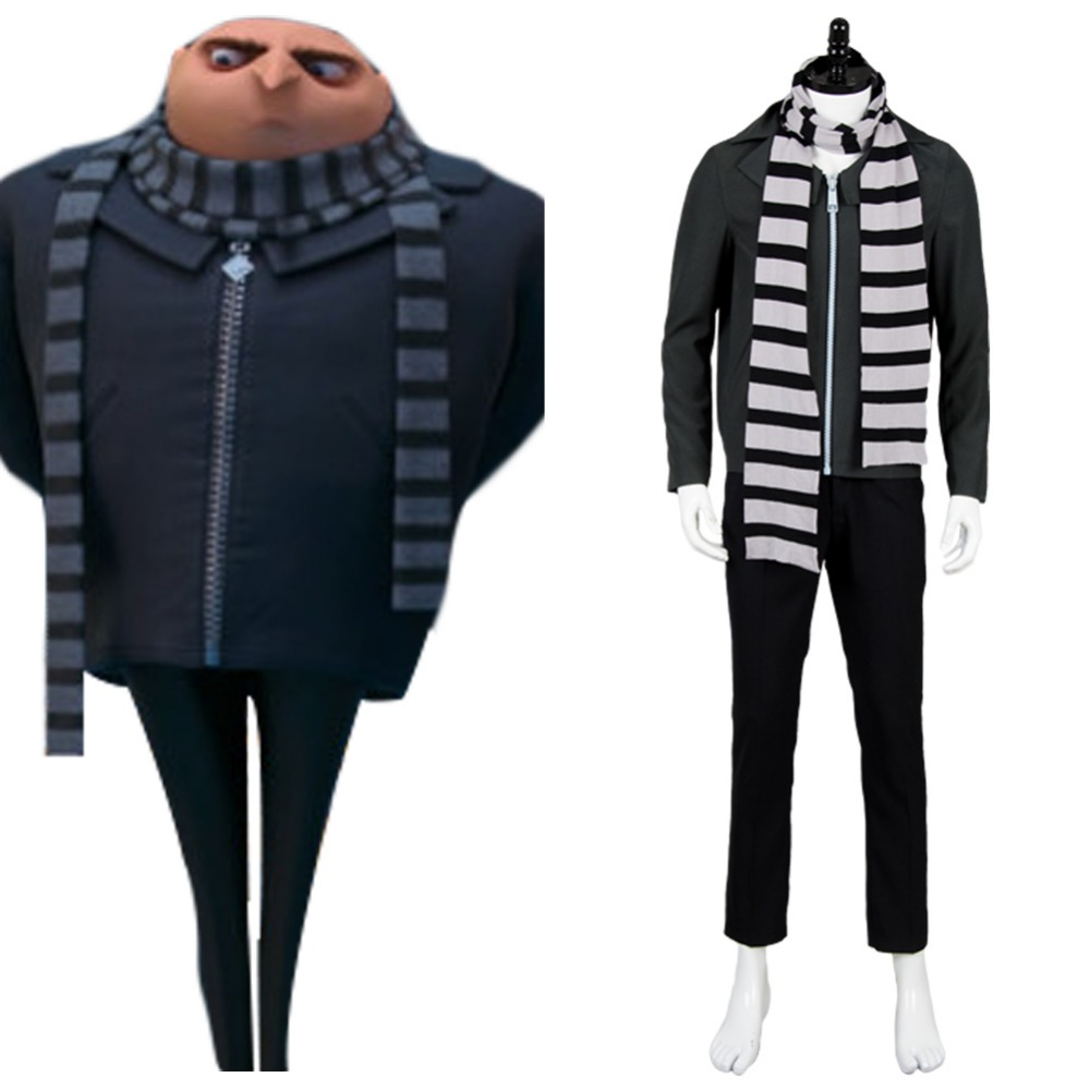 Despicable Me 3 Cosplay 2017 Movie Gru Cosplay Outfit  full set with Scarf Costume Halloween Christmas Costume for men women