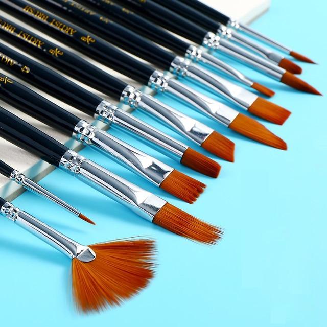 12 piezas de pintura de acuarela profesional pincel de aceite de acuarela para dibujar brochas de arte suministros