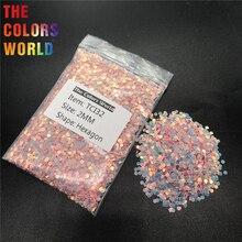 TCI32 Радужный перламутровый кораллово-розовый цвет Шестигранная форма для ногтей блестки для украшения ногтей гель для макияжа DIY Украшение для чашки