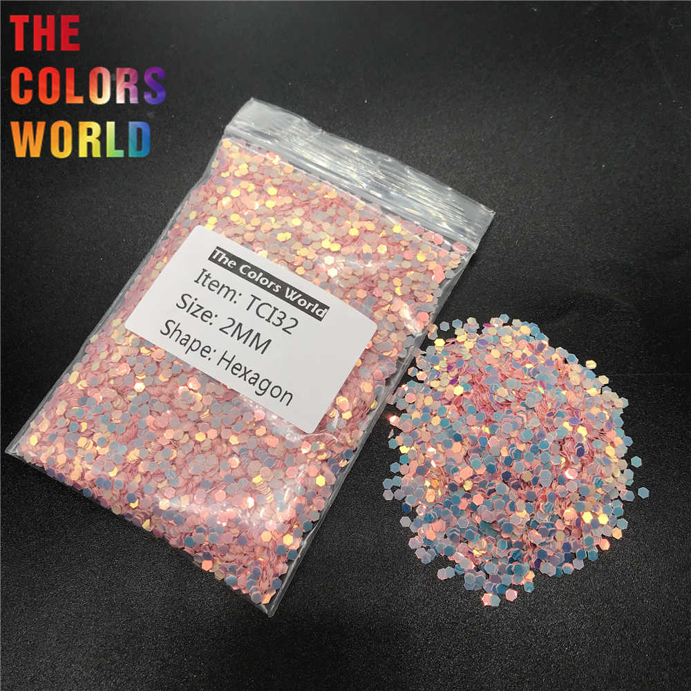 TCI32 Pearlescent Iridescent Coral Pink Color Hexagon Shape Nail Glitter Nail Art Decoration Nail Gel Makeup DIY Cup Decoration