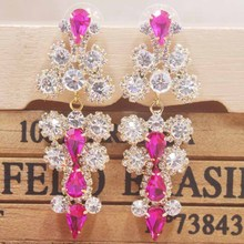 newest  arrived Zerong rhinestone earring 1pcs silver shiny style red/pink wedding /party gold champagne