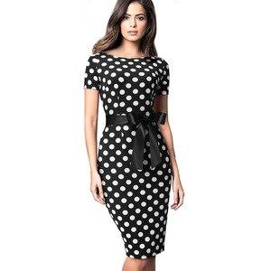 Image 3 - Güzel Sonsuza Kadar Vintage Zarif Retro Polka Nokta Çizgili vestidos İş Parti Bodycon Kılıf Kadınlar kadın elbisesi B536