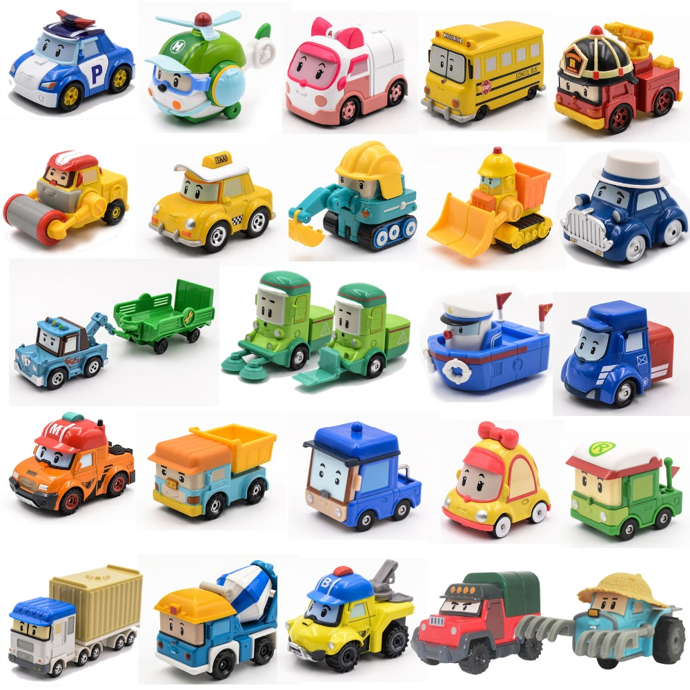 25 estilo robocar poli coréia anime desenhos animados figuras de ação brinquedos do carro robocar poli anba metal modelos de carro para crianças presentes