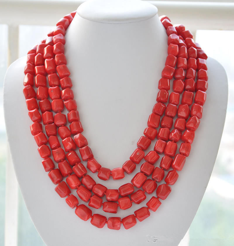 "Beautiful necklace made of corals in cylinder form 100"" long"