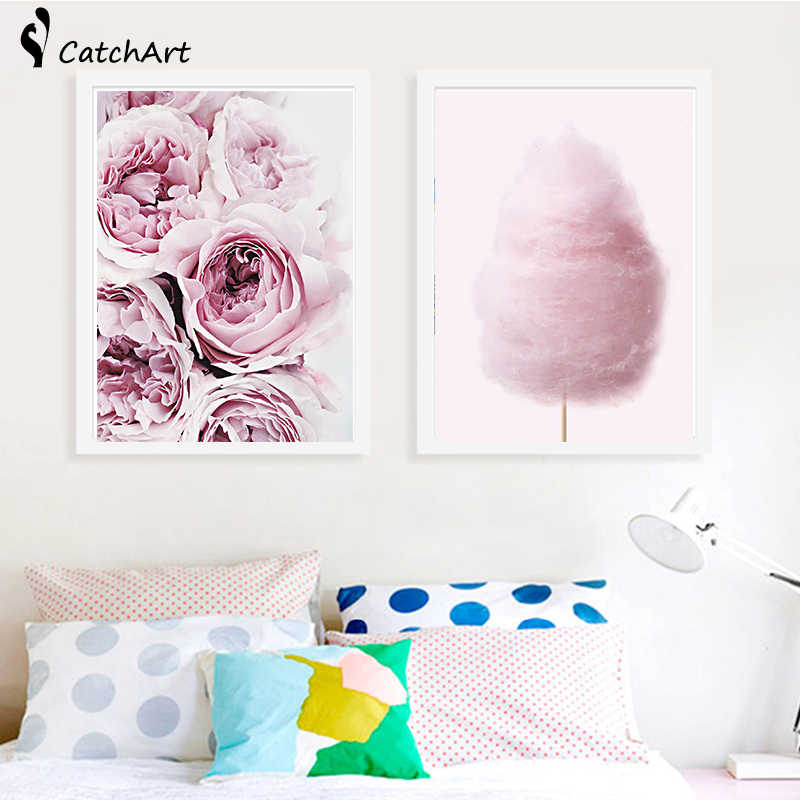 Pink Floral Peony Scandi Canvas Painting Wall Art Picture , Flower Photography Poster Canvas Print Scandinavian Art Wall Decor