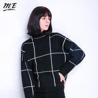 ME Women Sweater Pullovers Turtleneck Knitted Long Sleeve 2018 Winter Vintage Loose Sweaters Casual Elastic Oversized