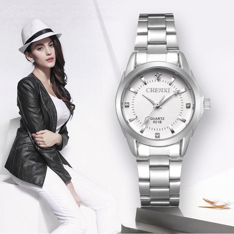 CHENXI dama de moda de diamantes de imitación reloj de mujer reloj de cuarzo de las mujeres relojes de muñeca vestido de mujer reloj xfcs relogio femenino