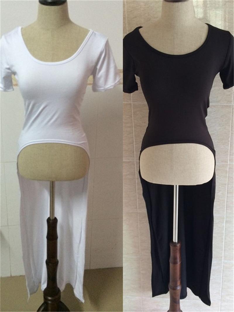 Women Side Split Tee Shirt Dress Long Back Short Front