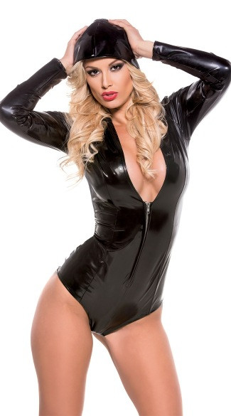 Vocole Women Sexy Black PVC Wet Look Faux Leather Hooded Bodysuit Long Sleeve Zipper Erotic Deep V Clubwear Bodycon Catsuit