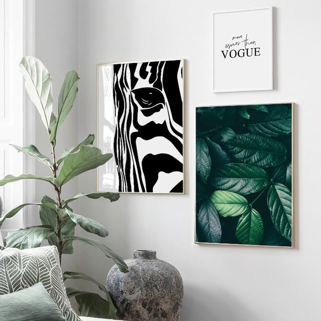 Zebra Green Plant Leaves Vogue Wall Art
