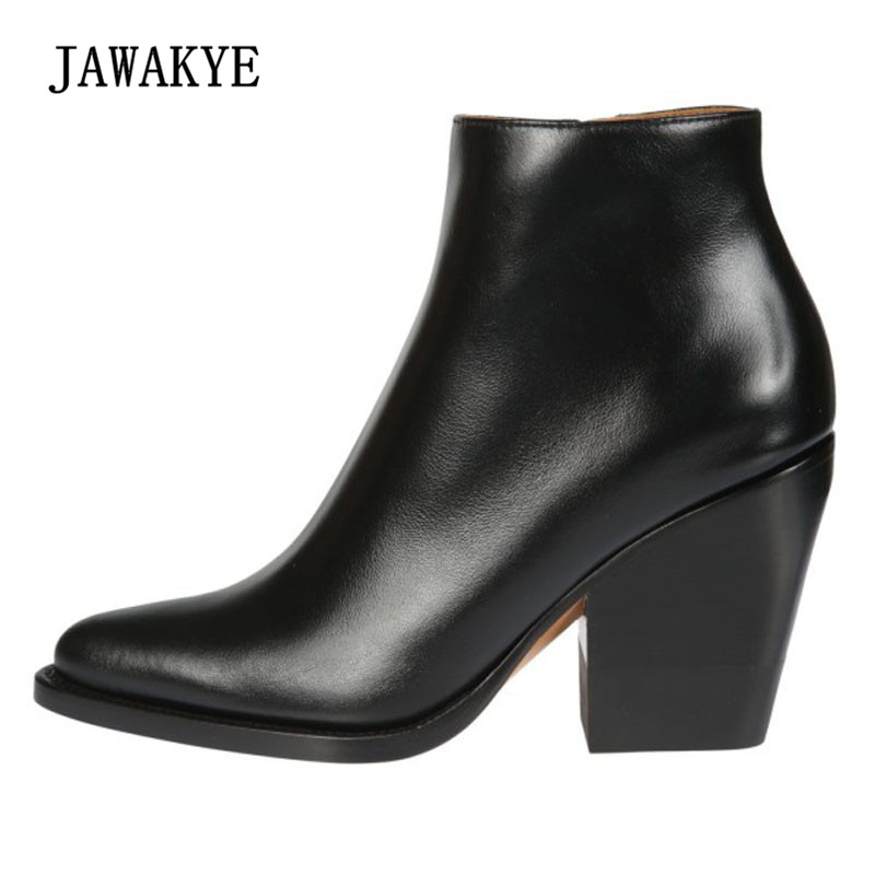 2018 British Style Real Leather Ankle Boots Woman Pointed Toe High Heel Boots Women Simple Design Fashion Martin Boots british style suede and chunky heel design women s ankle boots