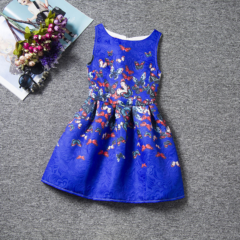 U-SWEAR 2019 New Arrival Kid   Flower     Girl     Dresses   Butterfly Print Sleeveless O-neck Zipper Back   Girls   Pageant   Dresses   Vestidos