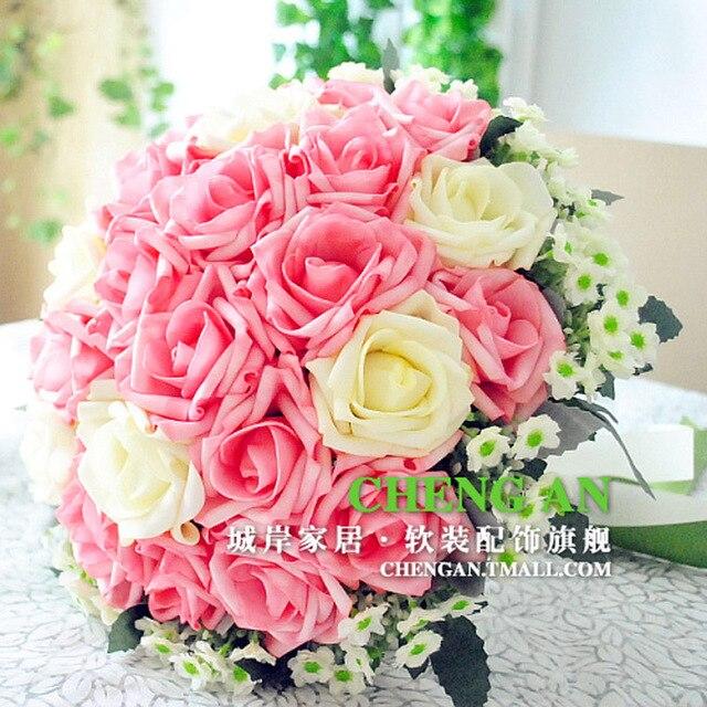 2017 Новое Прибытие Розовые Розы Свадебный Букет Ручной Букет де mariage На Складе Бесплатная Доставка