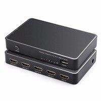 HDMI 2.0 Divisor 1x4 HDMI Splitter con QC2.0 Rápida Carga del USB Powered Amplificador Distribuidor de Señal HDMI 4 k x 2K @ 60Hz
