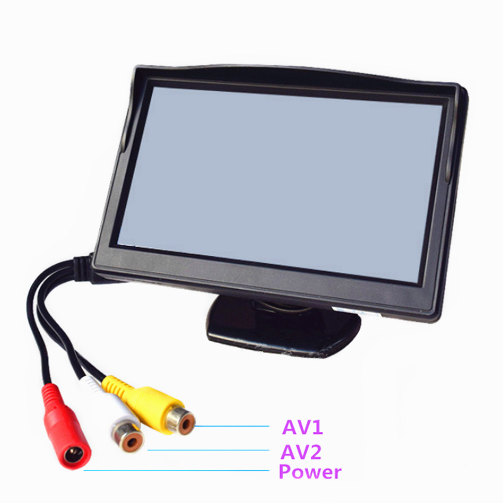 Cut Rate 5 Tft Lcd Hd800480 Color Screen Car Monitor Security Reverse Parking Assistance With 2 Av Input